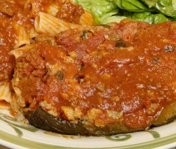 Homemade Stuffed Eggplant with Pasta