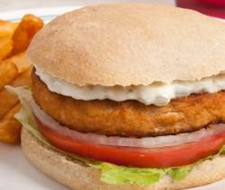 Salmon Burger Sandwich with Homemade Tartar Sauce