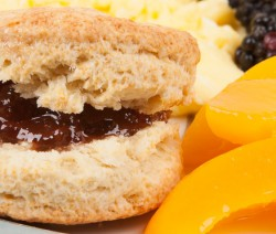 Homemade Buttermilk Biscuits with Strawberry Preserves