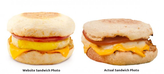 Egg Muffin Sandwich Ad Photo vs. Actual Product