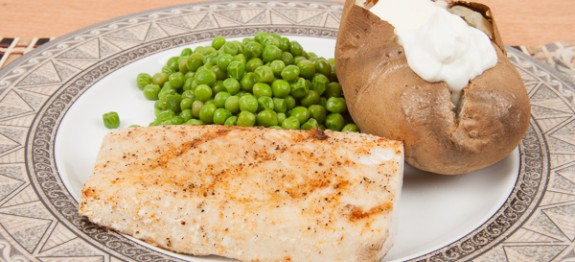 Grilled Mahi-Mahi with Baked Potato and Green Peas