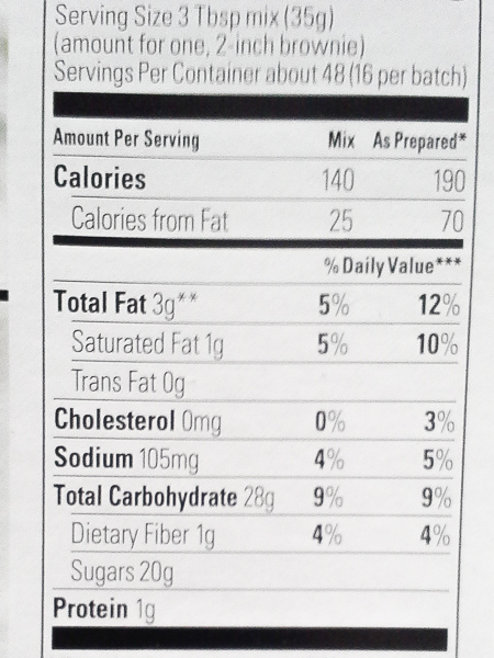 Gluten Free Brownie Mix Nutrition Facts