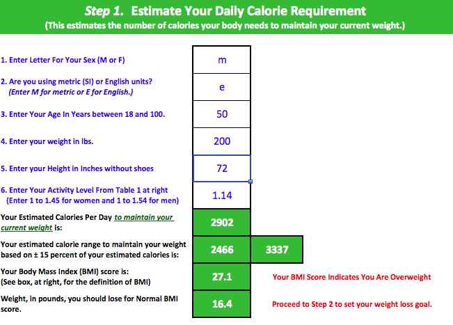 IMD Calorie Estimator Step 1