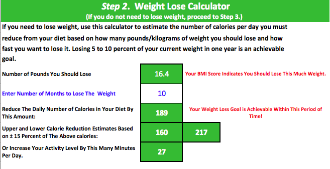 IMD Calorie Estimator Step 2