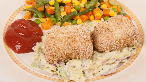 Oven Fried Fish with Spicy Coleslaw, Cocktail Sauce & Mixed Frozen Vegetables