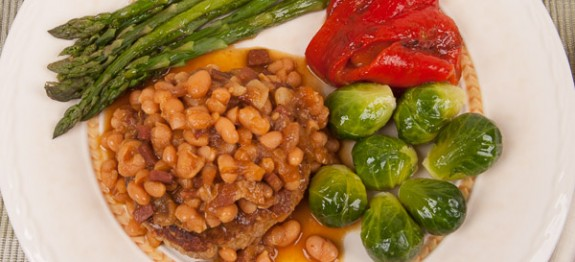 Turkey Burger with Baked Beans, Steamed Brussels Sprouts and Roasted Bell Peppers