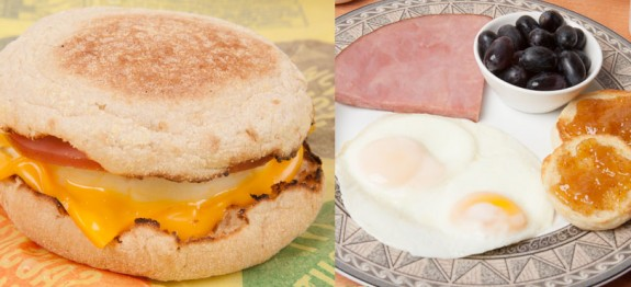 Egg Muffin Sandwich versus Homemade Egg Breakfast