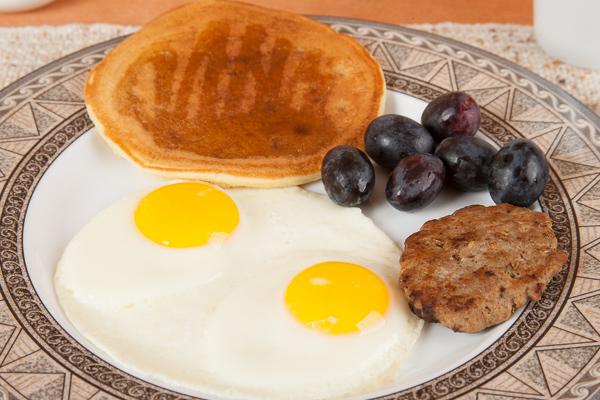 Homemade sausage, egg, Pancake Breakfast