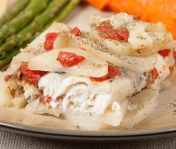 Baked white fish with potatoes