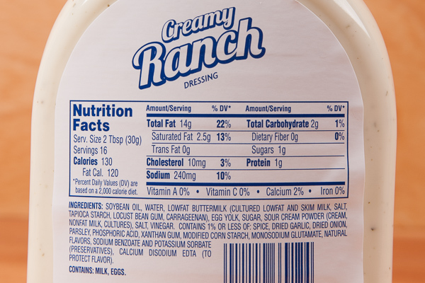 Commercial Ranch Dressing Ingredients
