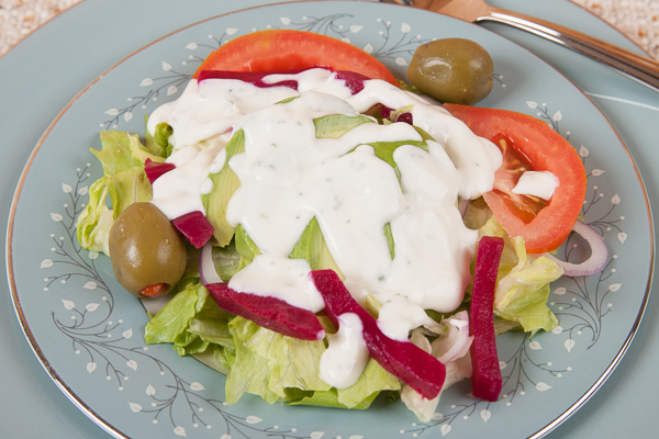Dinner Salad with Homemade Ranch Dressing