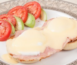 Pseudo Eggs Benedict With Cheese Sauce