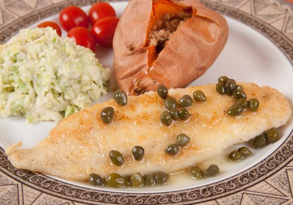 Fried Fish with Lemon Caper Sauce